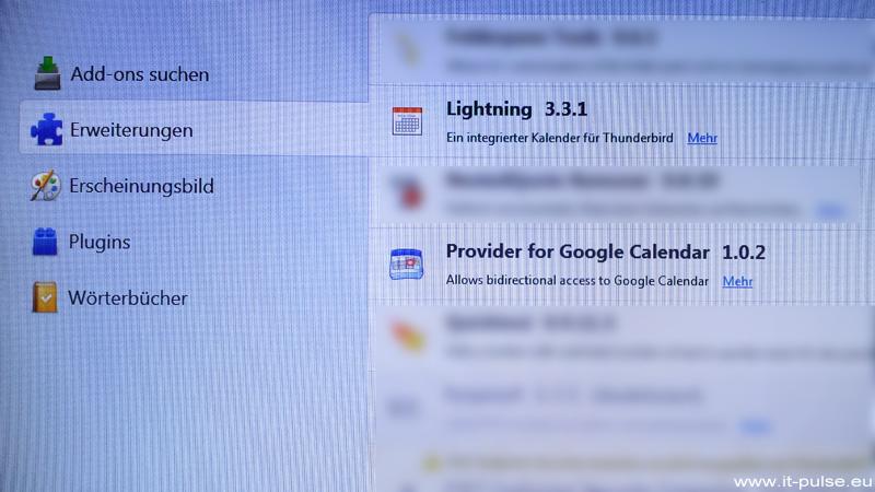 Thunderbird Lightning – Google Kalender fragt nach Passwort