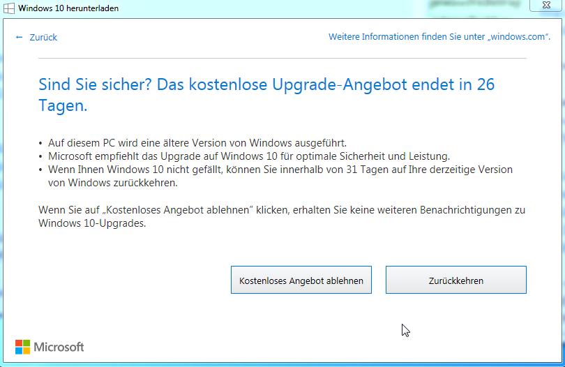 Windows10 kostenloses Ugrade ablehnen