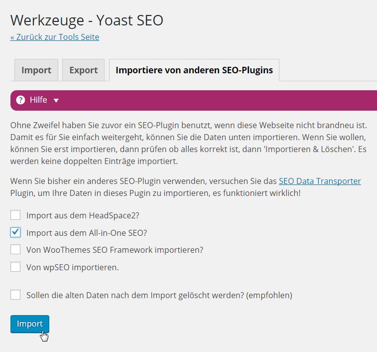 Yoast SEO Daten importieren