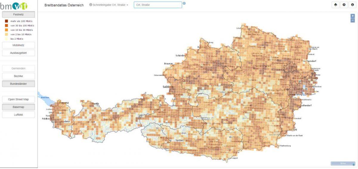 Breitbandatlas zeigt Internetgeschwindigkeit & Internetausbau in Österreich